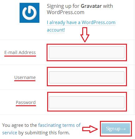 регистрация в Gravatar