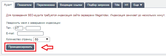 уведомление о завершении анализа сайта
