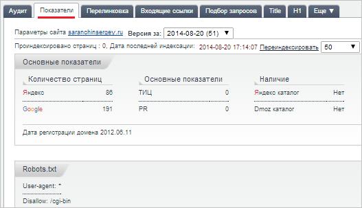 вкладка показатели анализа сайта