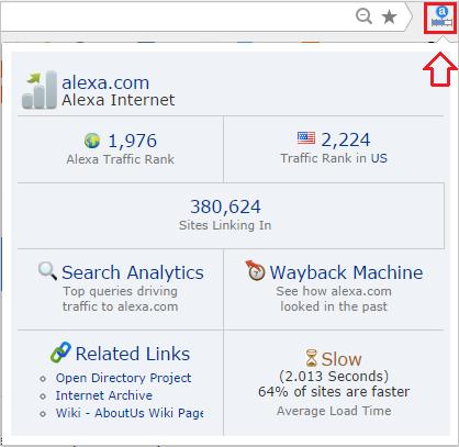 окошко alexa toolbar