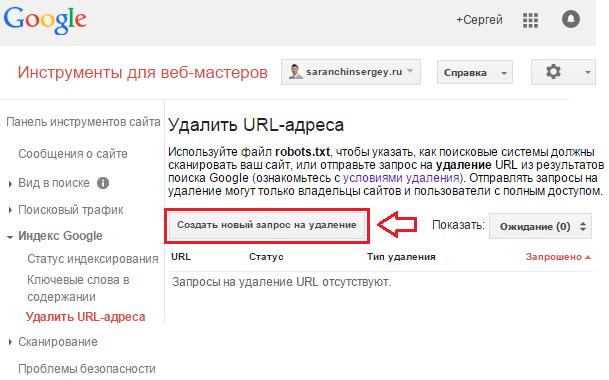 удаление страницы из индекса Google