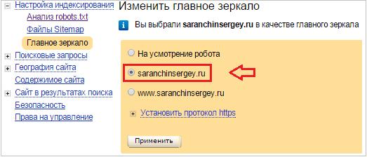 главное зеркало в Яндекс.вебмастер