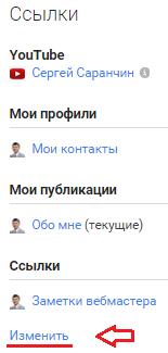 ссылки в Google+