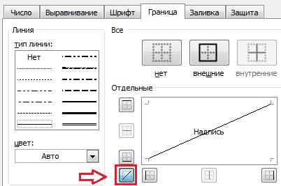 дабавление диагонали в Excel